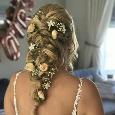 Mermaid braid with fresh flowers